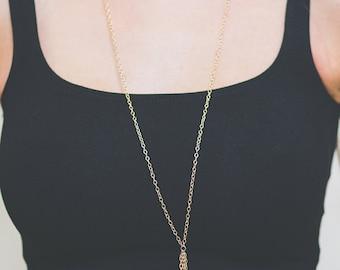 Placcato oro collana, regalo elegante collana, collana, collana lunga, collana di Boho, 24K placcato collana, collana di istruzione