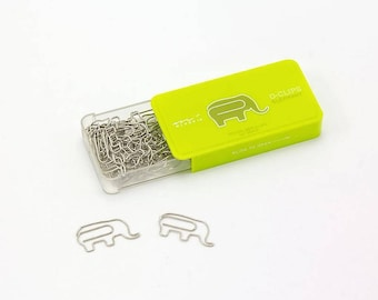 Elephant Paper Clips • Midori Animal D-Clips Japanese Stationery