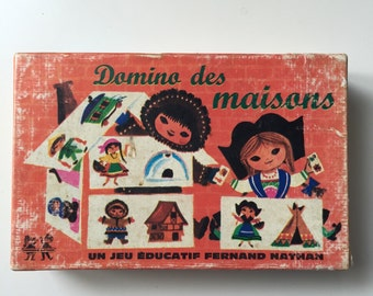 Vintage Picture Dominoes. Domino Sorting Game. Toddler Game. Fernand Nathan French Game Nina Illustrator.