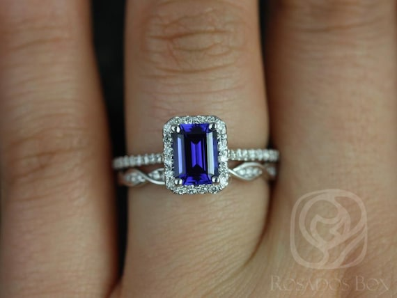 Rosados Box Lisette 7x5 mm & Ember 14kt White Gold Emerald Cut Blue Sapphire and Diamonds Halo Wedding Set