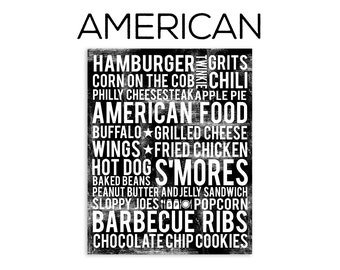 American Food Subway Art Print - American Food Poster - Kitchen Poster - Kitchen Wall Art - Food Poster - Food Art Print