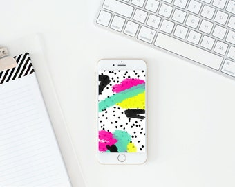 iPhone Background Hand Painted Wallpaper Cell Phone Background Digital Wallpaper Instant Download Tech Accessories Black and White Polka Dot