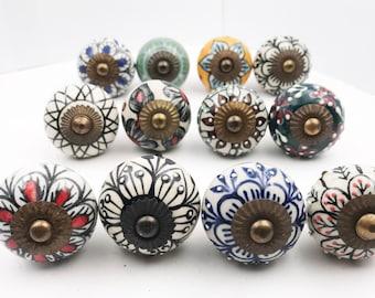 Bon Mixed Colors Batch Variety 12 Pack #2 Round Ceramic Knobs, Drawer Pulls, Cabinet  Knobs   Dark Hardware