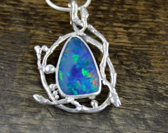 Boulder Opal Pendant, woodland jewelry, Fire Opal Necklace, opal jewelry, tree pendant, birch buds, leaf jewelry, organic, rustic, boho.