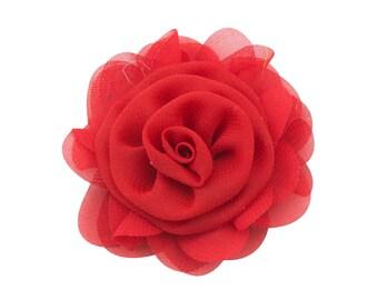 RED Chiffon Flower, Wholesale Flower, Fabric Flower, Headband Flower, Wedding Flower, Flower Embellishment, Diy Flower, DIY Headbands