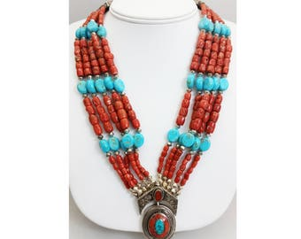Tibetan Sterling Silver w/ Coral & Turquoise Inlay Pendant Necklace w/ Turquoise and Mediterranean Coral Beads and Silver Clasp
