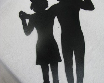 Cowgirl and Cowboy Dance 002 Metal Silhouette Western Wall Yard Art