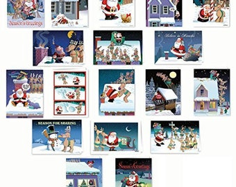 Ultimate Funny Christmas Card Variety Pack - 36 Funny Cards & Envelopes - 18 Different Humorous Designs - 95