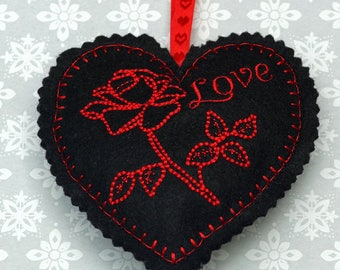 Embroidered heart, felt heart,  hanging heart, machine embroidered heart, love, rose