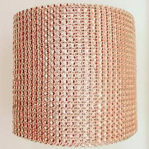 1 Yard Rose Gold Cake Wrap Bling - Rhinestone Mesh Diamond like Champagne Copper Bronze Blush