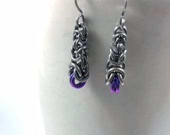 Graduated Byzantine Oxidized Sterling Silver with Purple Anodized Niobium Earrings Chainmaille