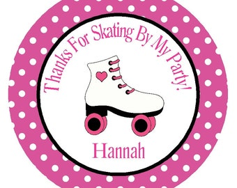 ROLLER SKATE FAVOR Tags/ Party Circles/ Stickers or Tags/Decorations/Set of 12