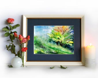 One tree art Tree watercolour Tree one art Abstract tree painting Summer nature art Framed art tree Nature inspired PaintingOnlineStore