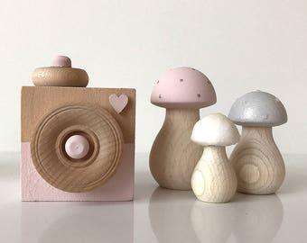 Baby Girl Nursery Decor . Nordic Nursery Decor . Wooden Toadstools . Wooden Nursery Decor . Scandinavian Decor . Baby Girl Gift