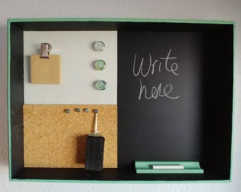 Green and White Chalk Board, Messge Center, Magnetic, Cork, Magnets