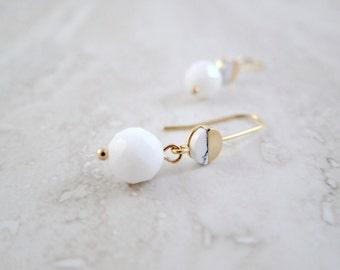 Carrara Marble Drop Earrings - White & Gold