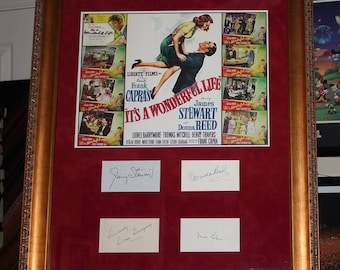 It's A Wonderful Life Autograph Framed Signed by Lionel Barrymore,Jimmy Stewart,Donna Reed, and Frank Capra