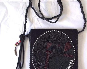 Super Sale Ladies Native American Inspired Beaded Bag w/ Hopi Pottery