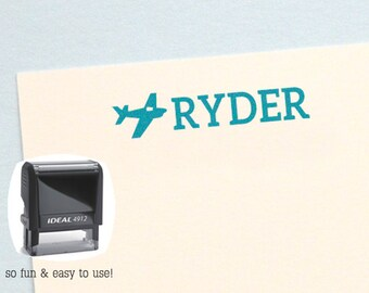Airplane Personalized Name Stamp, Kids Birthday Gift,  Self Inking Name Stamp, Custom Name Stamp, HK203