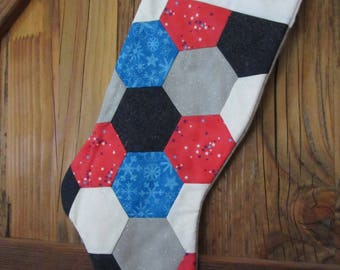 Quilted Christmas Stocking, Red, White, Blue, Gray Sparkle Christmas Stocking, Hexi Christmas Stocking,   Holiday Decor,  Christmas ,