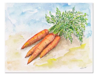 Carrots, Original Watercolor Painting, 8 X 10  inch, Spring Home Decor, Kitchen Art, Vegetables Artwork, Veggie Garden, Still Life, Healthy