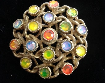Vintage Sarah Conentry Brooch with colorful Rhinestones
