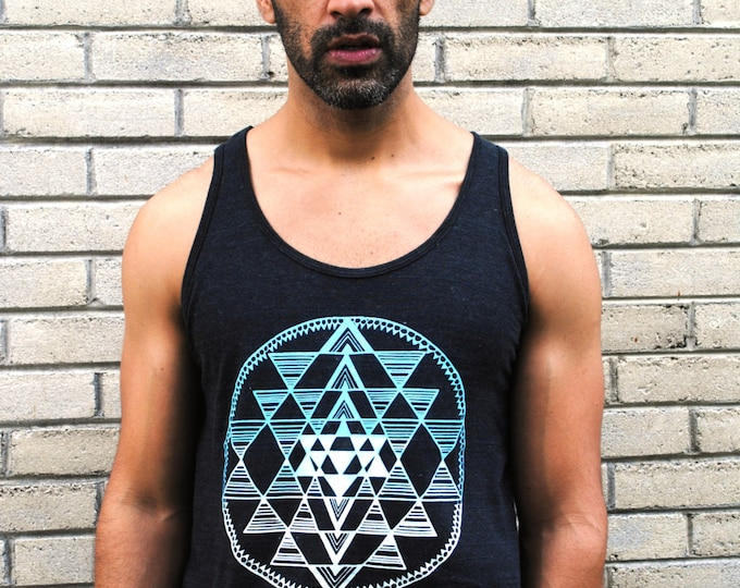 Ombre BLUE Sri Yantra Sacred Geometry Tank Top