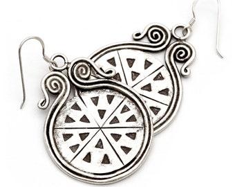 Sterling Silver, Tribal Earrings, Long Silver Earrings, Vintage Earrings, Ethnic Earrings, Chandelier Earrings, Drop Earrings KS-143