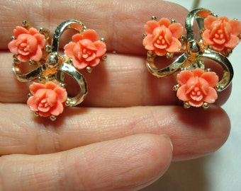 1960s Coral Colored Carved Roses Earrings.