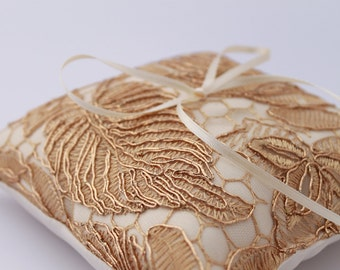 """Gold Ring Pillow. Gold Lace Wedding Ring Pillow. Ring Bearer Pillow. 5""""x5"""" Gold Embroidered Lace Pillow. Ivory and Lace Ring Bearer Pillow"""