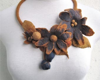Felt flowers necklace Wool flowers Felt statement necklace Felted necklace Yellow blue necklace Wool necklace Yellow brown necklace