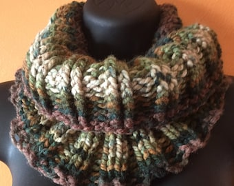 Shades of green knitted cowl