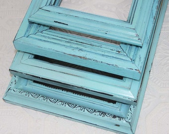 Set of Four Blue Painted Frames Made to Order