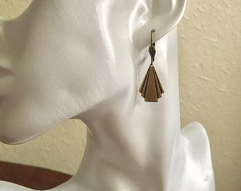 Antique Brass Drop Earrings: Antique Brass Plated Art Deco Drop Minimalist Bride/Bridesmaid Prom Earrings