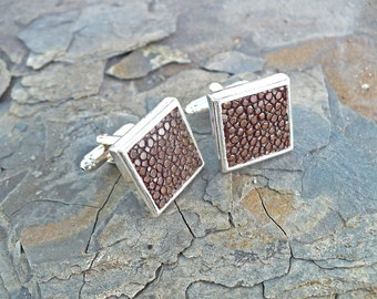 Square cufflinks, brown stingray leather, chocolate brown fish leather, classy elegant wedding cuff links
