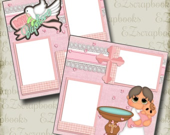 My BAPTISM GIRL - 2 Premade Scrapbook Pages - EZ Layout 775