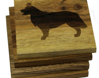 Golden Retriever Coasters - Set of 4 Engraved Acacia Wood Coasters