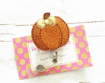 Nurse Badge Reel - Pumpkin Badge Reel - Fall Badge Reel - Pediatric Badge Reel - Nurse Badge Holder - Felt Badge Reel
