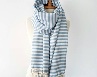 Oversized Stripe Cotton Scarf - Cozy Summer Scarf - Soft Cotton Scarf with tassels - Jeans Boho Outfit - Blue Stripe Shawl -Festival Scarves