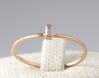 14K Solid Gold Thin Diamond CZ  Band, Simple Ring, Baguette CZ Ring, Stacking Ring, Minimalist Ring