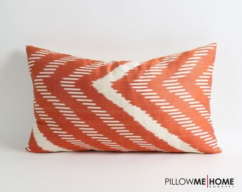 ikat silk pillow cover, 12x20 ikat cushion cover, pillow covers, ikat throw pillows, accent pillows