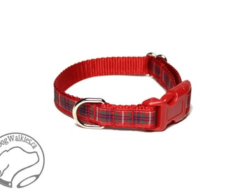"Fraser Clan Tartan Small Dog Collar - Thin Dog Collar - 1/2"" (12mm) Wide - Red Plaid - Frazer - Outlander Plaid - Choice of style and size"
