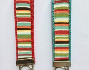 Key fob wristlet, Keychain wristlet, striped key fob