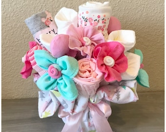 New Baby Gift for Basket Girl - New Baby Corporate/Client Gift Basket - Woodland Friends Pink and Teal Baby Clothing Bouquet -