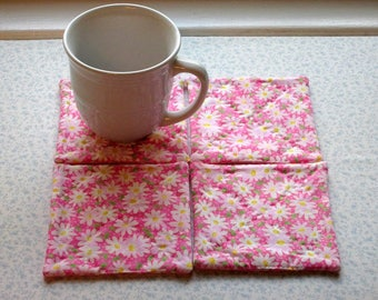 pink  daisies spring summer hand quilted set of mug rugs coasters