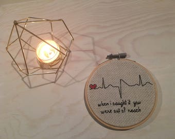 The xx 'Heart Skipped A Beat' Completed Cross Stitch