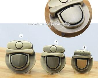 2sets Thumb Catch Purse Lock, 1.73'' x 1.85'', 1.41'' x 1.5'' ,1.22'' x 1.3'' Brushed Brass Purse Bag Lock.