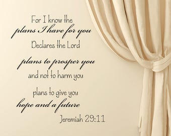 Wall Decals Jeremiah 29:11 For I Know The Plans I Have For You Quote Vinyl Sticker Bedroom Decal Home Decor aa359