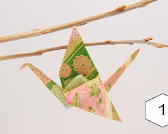 """Pins in origami """"Dew/green floral cranes"""""""