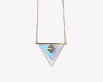 Hologram necklace etsy holographic silver pyramid necklace sterling silver 925 holographic triangle necklace grunge 90s necklace mozeypictures Images